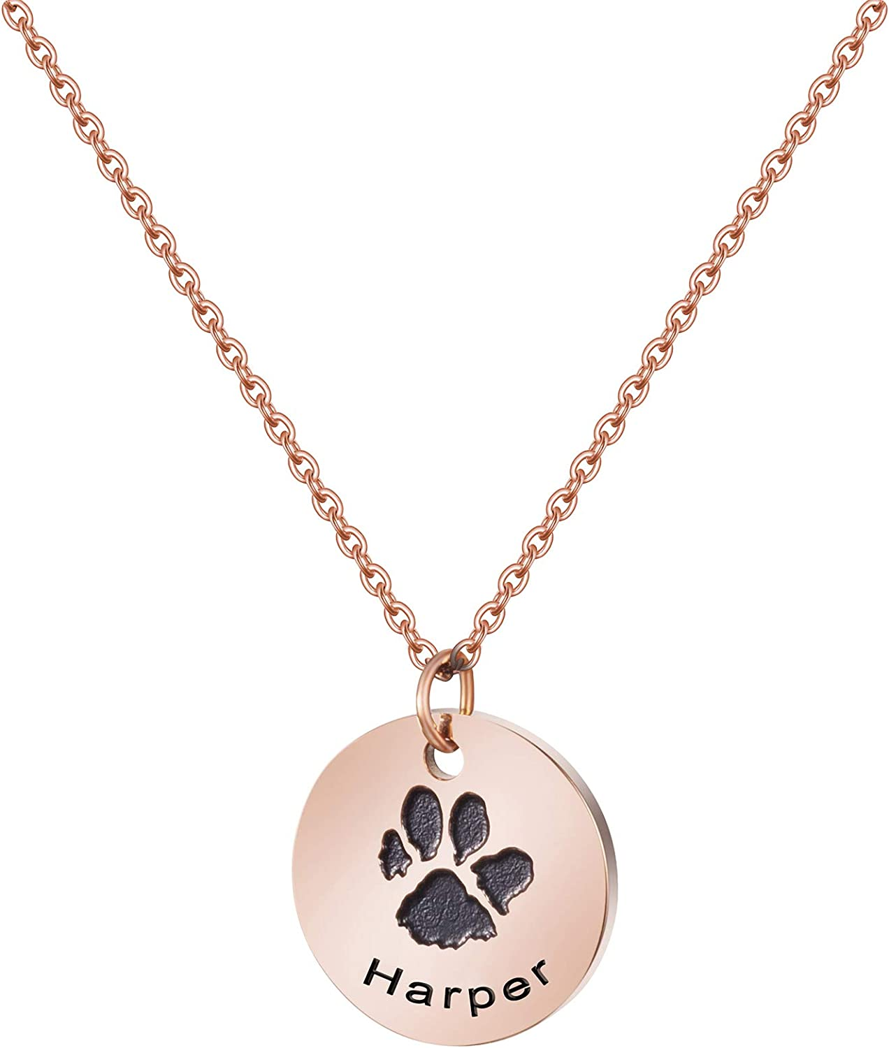 SALENEW very popular JoycuFF Pet Memorial Name Necklace Dog Rose Pa Personalized Gold Sale price