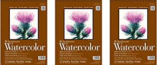 """Strathmore 440-1 400 Series Watercolor Pad, 9""""x12"""" Wire Bound, 12 Sheets (Тhree Pаck, White)"""