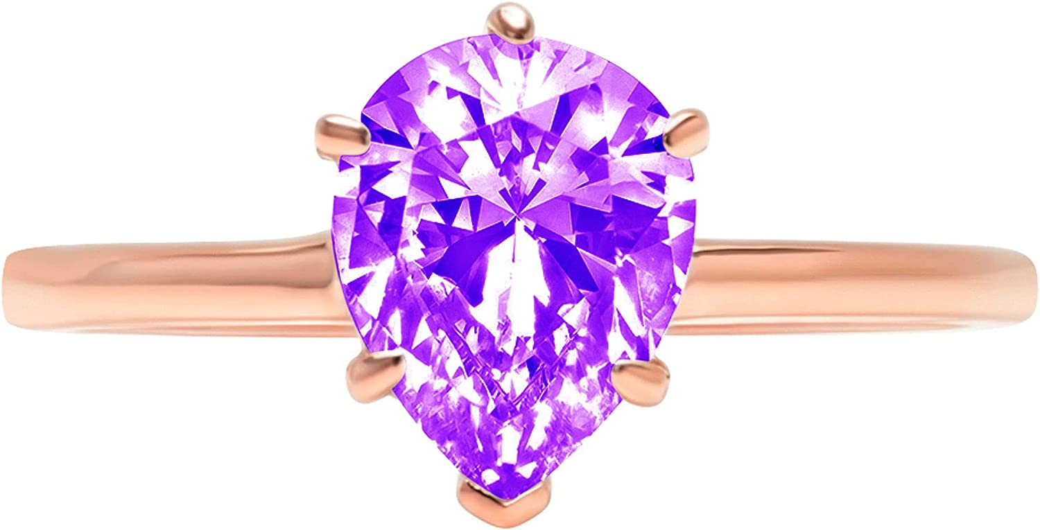 2.50 ct Brilliant Pear Cut Solitaire Natural Purple Amethyst Gem Stone Ideal VVS1 6-Prong Engagement Wedding Bridal Promise Anniversary Ring Solid Real 14k Rose Gold for Women