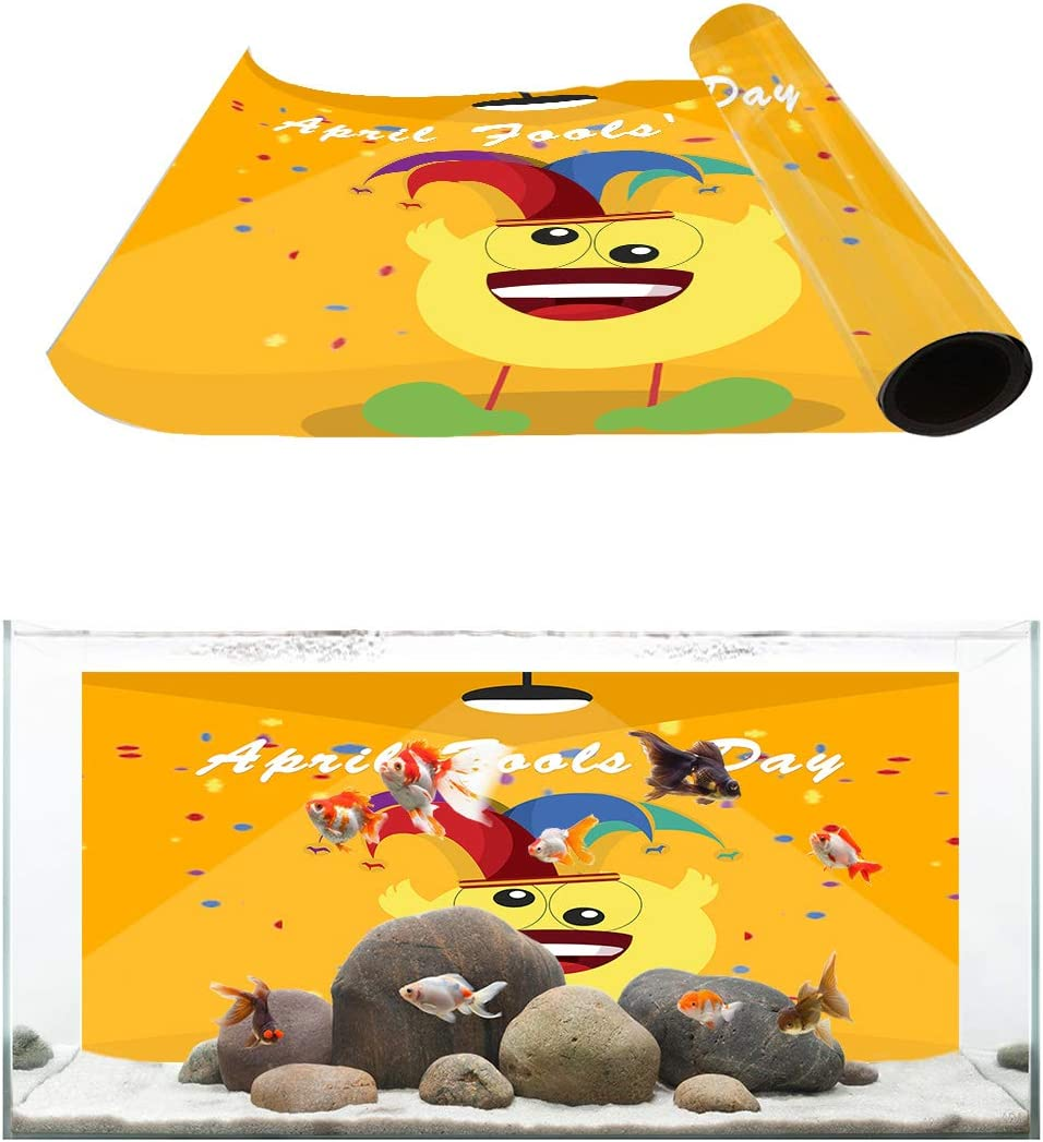 Today's only TH XHome Aquarium Décor Backgrounds Day Free shipping / New Happy Fools' Patt April