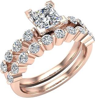 Princess Cut 1.50 Carat Shared-Prong setting Band Wedding Ring Set 14K Gold