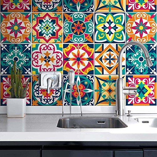 54 piezas Azulejo adhesivo 10x10 cm PS00187 Mosaico de Azulejos Adhesivo de pared Adhesivo decorativo para azulejos de cemento para baño y cocina Adhesivos de cemento pelar y pegar