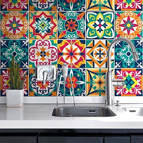 54 (Piezas) Adhesivo para Azulejos 10x10 cm - PS00187 - Santa Clara - Adhesivo Decorativo para Azulejos para baño y Cocina - Stickers Azulejos - Collage de Azulejos