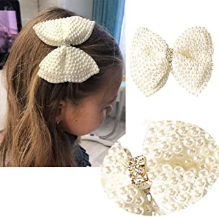 2 Pcs Pearl Bow 3 Inch Glitter Hair Bows BELLA VOGUE Boutique Hair Clips Hair Bows For Baby Girls Teens Toddlers