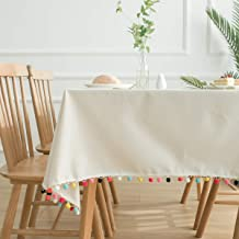 Colored wool ball natural plain cotton linen tablecloth cover cloth fresh white tablecloth dustproof coffee table cover to...