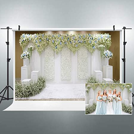 Floral Wedding Reception Desk Scene Backdrop 8x6.5ft Polyester Indoor Bright Bulbs Garlands Graceful Floral Table Pink Tablecloth Rustic Wooden Wall Background Wedding Shoot Bridal Shower