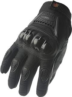 Street Bike Full Finger Motorcycle Gloves 09 (Large, black/silver)