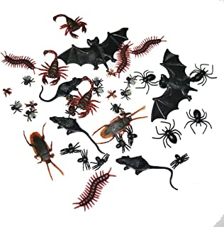 Adam Victor 40 Pieces Plastic Realistic Insects / Bugs - Fake Mice, Bats, Cockroaches, Spiders, Scorpions, Flies and Centioedes for Halloween Party Favors and Decoration