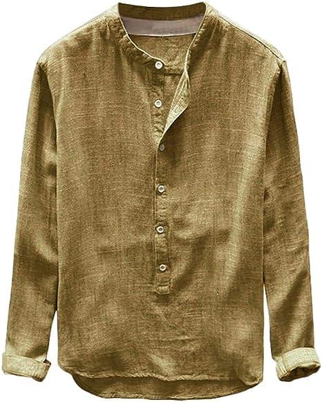 Camisas Hombre Manga Larga Baratas 2019 Moda SHOBDW Camisa Lino Hombre Casual Blusa Slim Fit Tops Shirts Collar De Pie Tallas Grandes 4XL