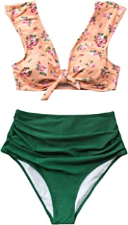 Women's Front Knot High Waisted Shirring Pink Green Bikini Set