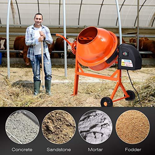 Electric Portable Cement Mixer 2 1/4 Cu Ft, Concrete Mixer Wheelbarrow Machine, Mixing Mortar Stucco Seeds, 110V (Orange)
