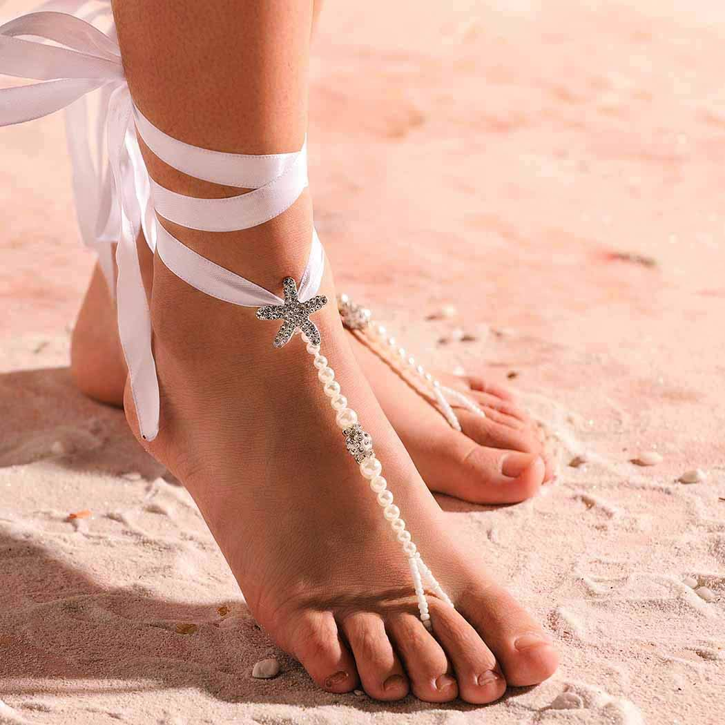 Yalice 2PCS Beach Ribbon Barefoot Sandals Anklet Crystal Starfish Foot Chain Wedding Pearl Ankle Bracelet Jewelry for Women and Girls