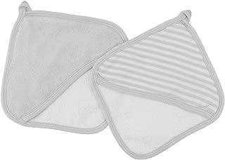 Under The Nile Organic Cotton Baby Striped Wash Mitt Set, Set of Two (Grey Stripe with Grey Trim)