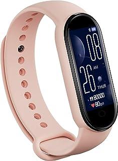 JINQII Pulseira inteligente M5, pulseira inteligente com tela colorida de 2,36 cm IP67 à prova d'água, pulseira esportiva ...