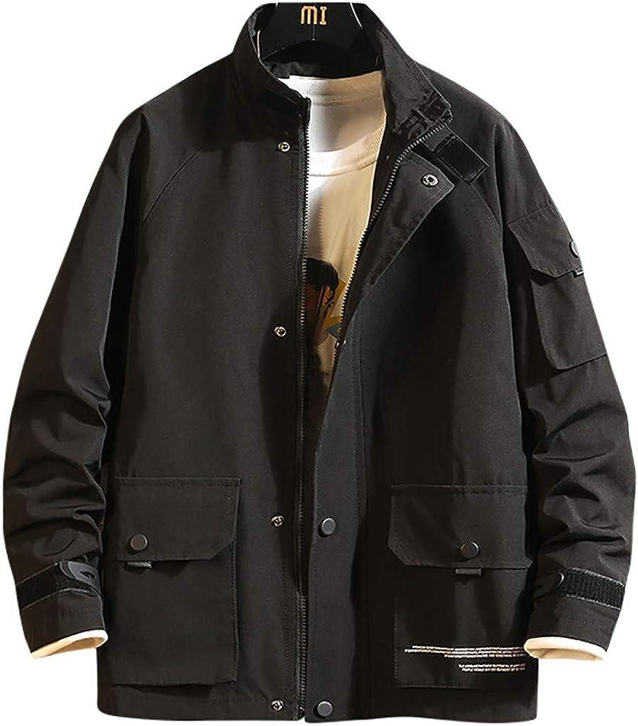 Tosonse Chaqueta Bomber Hombre Moda Japonés Multi-Bolsillo Abrigo Diseñador Sudaderas Moda Cap Chaqueta