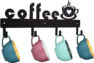 Metal Coffee Mug Holder Wall Mounted, Hanging Coffee Mug Rack with Coffee Signs , 4 Hooks Coffee Rack for Coffee Bar , Coffee Cup Hanger Decor Display and Organizer for Coffee Bar Kitchen