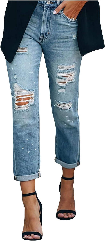 MIVAMIYA Women's Ripped Boyfriend Jeans Mom Fray Hem Skinny Jeans High Waist Denim Ankle Jeans Slim Distressed Jeans Pants