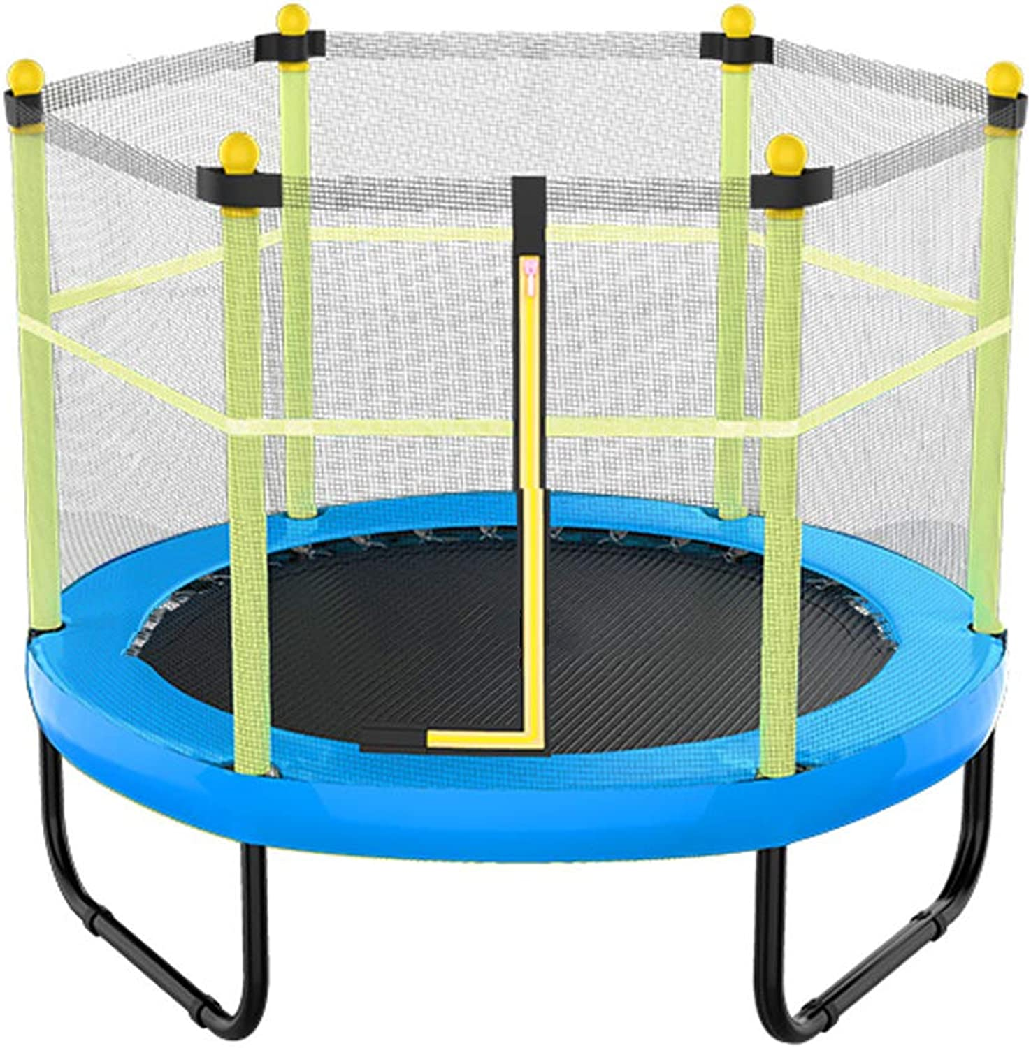Household Mini Trampoline with Safety Enclosure Net Spring Cove 6 Poles Capacity to 200kg Exercise & Play Kids Junior Bouncer for Outdoor and Indoor