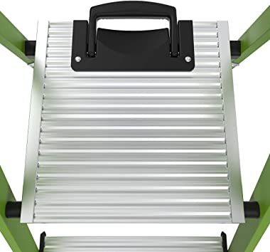 Little Giant Ladders, MightyLite, M8, 8 ft Stepladder, Ground Cue, Fiberglass, Type IAA, 375 lbs weight rating, Green, (15388