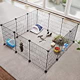 Huisen Furniture DIY Pet Playpen Metal Grid for Small Animal Portable, Wire Cage Indoor yd Fence Including 12 Panels for Small Dogs Cats Guinea Pigs Rabbits Kennel Crate Fence