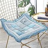 erddcbb Cojines Cuadrados de algodón para sillas, Suaves Almohadillas de Asiento para sillas de Oficina, Cojines universales Gruesos Tatami (la Silla no está incluida) -Azul 48x48cm (19x19inch)