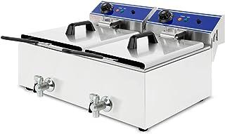 vertes Friteuse 2x10L (2x3000 Watt, température réglable jusqu'à 200°C, électrique 230V, capacité 2x5,5L d'huile, principe...