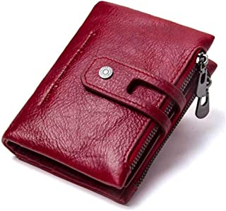 LDUNDUN-BAG, 2019 Double Zipper Buckle Leather Retro Crazy Horse Leather Men's Bag Casual Purse Men's Wallet (Color : Red, Size : S)