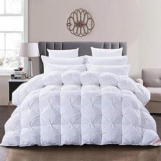 Homys Bettdecke aus Gänsefedern, Winterdecke, Natur, Bettdecke aus weißen Gänsedaunen, Bettdecke 240 x 220 cm, Bezug 100 % Baumwolle, milbendicht, 13,5 Tog
