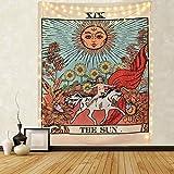 LOMOHOO - Tapetsry para colgar en la pared, diseño del tarot del sol, misterioso medieval Europa divinación tapices para dormitorio