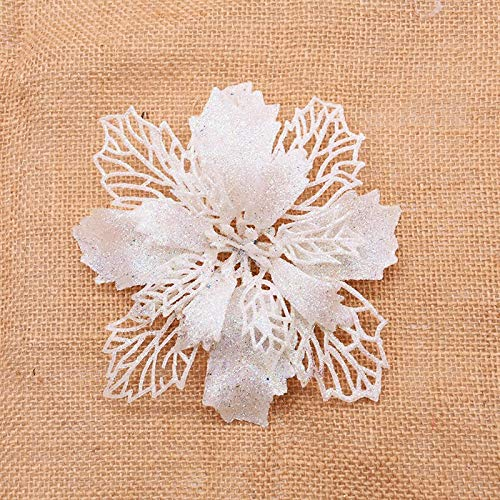 5pcs 16cm Large Glitter Poinsettia Flower Artificial Flower Heads for Wedding Home Decor for Xmas Merry Christmas Tree Ornament