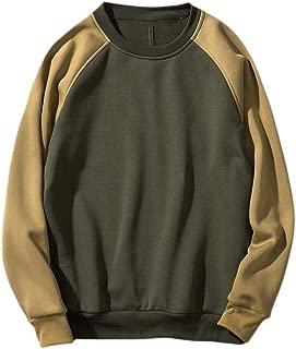 Mogogo Men's Pure Color Fleece Relaxed Fit Pullover O-Neck Long-Sleeve Tshirt