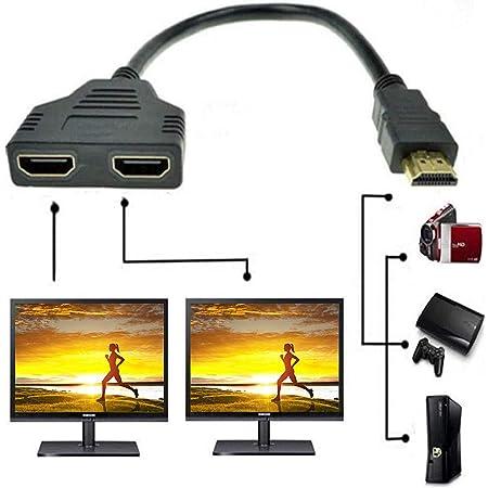 ZY Câble adaptateur répartiteur HDMI mâle vers double HDMI femelle 1 à 2  voies pour TV HD, prend en charge deux téléviseurs en même temps, signal  une entrée, deux sorties (Noir) :