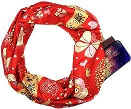 ⭐️ QIQIU Loop Zipper Pocket Scarves Womens Elegant Christmas Print Convertible Infinity Scarves