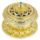 Weihrauchbrenner Tibet Lotus Pattern, Aluminiumlegierung - Künstlerisch geschnitzter Brennerbehälter(Gold)