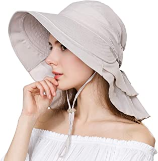 Jeff & Aimy UPF 50 Sun Hats for Women Wide Brim Safari Sunhat Packable with Neck Flap Chin Strap Adjustable