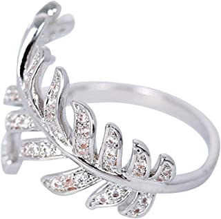 MOONSTONE Fashion Ring For Women Dazzling Micro Pave Crystal Bypass Feather Embellished, Adjustable Size
