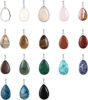 20pcs Teardrop Water Drop Shape Healing Chakra Charm Beads Crystal Quartz Stone Random Color Pendants for Necklace Jewelry Making