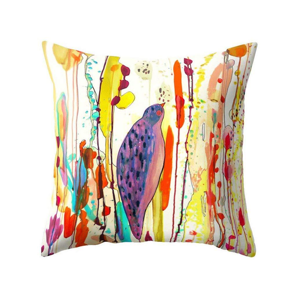 Rusaly Funda Cojin 45x45 Algodón Lino Multicolor, Gorjeo de Pájaros y Fragancia de Flores, Almohada Caso Decorativo Cojines Sofá Silla (D): Amazon.es: Hogar
