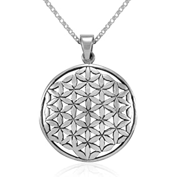 WithLoveSilver Sterling Silver Celtic Knot Round Cut Out Flower of Life Pendant