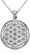 MIMI Sterling Silver Flower of Life Kabbalah 27 mm Round Pendant Necklace, 18 inches