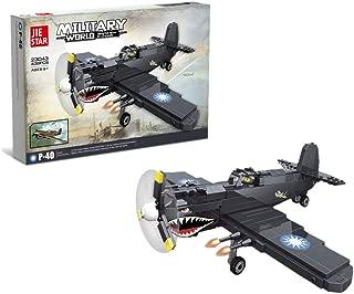 JIESTAR Army WW2 Plane Pearl Harbor Defender Curtiss P40 Warhawk Building Blocks (438 PCS) Bricks Compatible with Lego