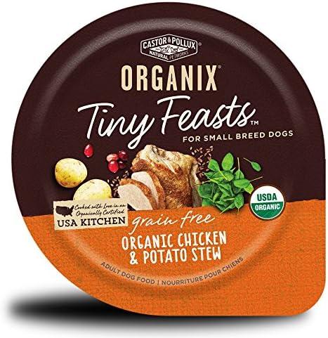 Castor Pollux Organix Tiny Feasts Grain Free Organic Chicken Potato Stew Dog Food Trays 12 3 product image