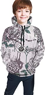 Spray Paint Floral Kids/Teen Boys Girls Hoodies,3D Print Pullover Sweatshirts