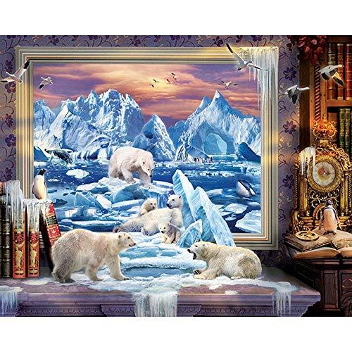 YRWDNV 5D Full Drill Diamant Malerei Set DIY Kinder Erwachsene Handwerk Crystal Strass Stickerei Bilder Tierischer Eisbär Kreativität für Kind Geschenk Home Wall Decoration (30 x 40cm)
