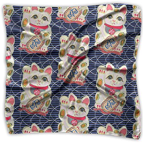 Bufanda cuadrada de satén con diseño de gato de la suerte en repetición para mujer, ligera, impresión