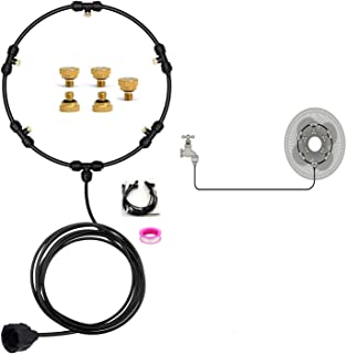 """Misting Fan Kit,Water Misting Cooling System Misters 19.7FT(6M) Mister Fan Line, Water Misting Fan Set with 5 Brass Nozzles,(3/4"""") Connector for Outdoor Fan Cooling Patio"""