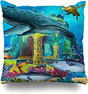 Ahawoso Throw Pillow Cover Jellyfish Andersen Underwater Castle Princess Children Aquatic Design Fable Decorative Pillowcase Square 16