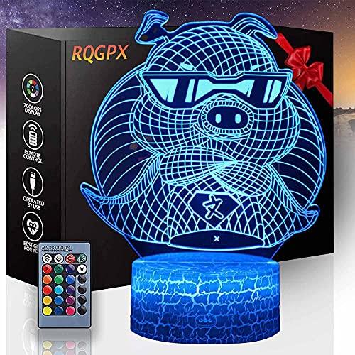 Lámpara, 3D Luz de la Noche Elefante Bebé Dormitorio Lámpara de Dormitorio con Control Remoto Lámpara de Mesita de Noche, Regalos de Cumpleaños