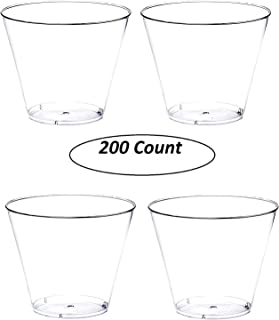 200 count 9 oz Party Cups Old Fashioned Tumblers by Oojami (Clear)