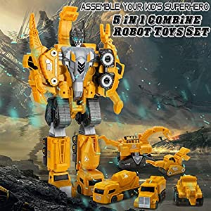5 in 1 Dinosaur Construction Trucks, Transformer Robot Toys Set, Magnetic Assemble into Emulation Large Robot Figures…